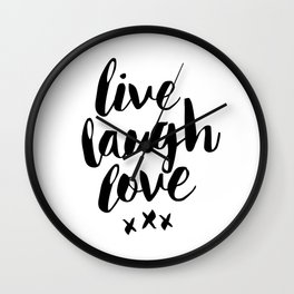 Live Laugh Love black and white wall hangings typography design home wall decor bedroom Wall Clock