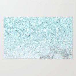 Turquoise Sea Mermaid Glitter Marble Rug