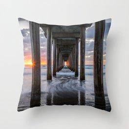 Scripps Pier Sunset La Jolla California Pacific Ocean Landscape Throw Pillow