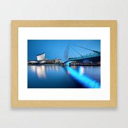 Salford Quays Media Bridge and Imperial War Museum Framed Art Print