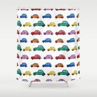 cars Shower Curtains featuring Italian cars  by Katerina Izotova