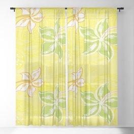 Green Hibiscus Jungle Print Sheer Curtain