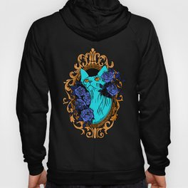 Neon Blue Hairless Sphynx Cat with Mystique Blue Roses and Golden Frame - Pet Portrait Line Tattoo Hoody