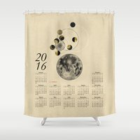 kubrick Shower Curtains featuring 2016 Full Moon Calendar by J Arell