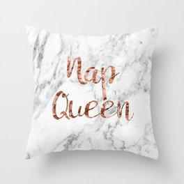 Nap queen - rose gold on marble Throw Pillow