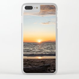 Sunset in Lake Michigan Clear iPhone Case