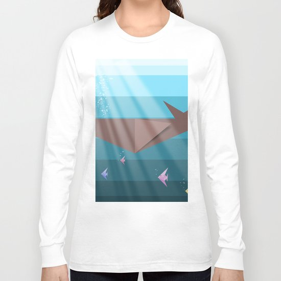 LIVING SEA (origami animals whales) Long Sleeve T-shirt