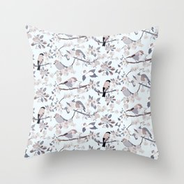 Blossom and Birds Cool Grey Tones Print Throw Pillow