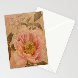 Vintage Pink Peony Collage - Vintage Botanical Illustration - Antiqued Peonies Stationery Cards