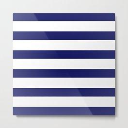 Navy & White Stripes | Digital Design Metal Print