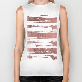 Elegant white faux rose gold brushstrokes stripes pattern Biker Tank