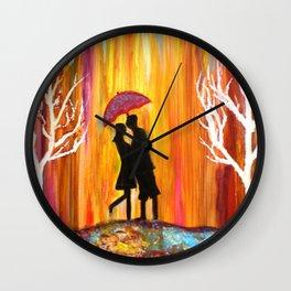Romance in the Rain I romantic gift art Wall Clock