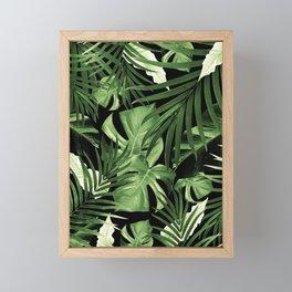 Tropical Jungle Night Leaves Pattern #5 #tropical #decor #art #society6 Framed Mini Art Print