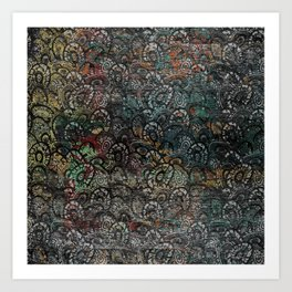 Burned Color  Paisley Pattern on  Wood Art Print