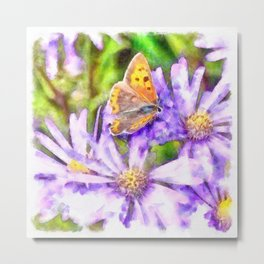 Orange Wings and Purple Petals Metal Print