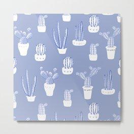 Elegant Blue Cacti in Pots Pattern Metal Print
