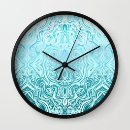 Twists & Turns in Turquoise & Teal Wall Clock