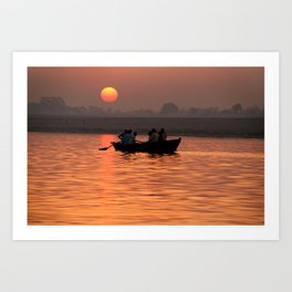Rowing Boat on the Ganges at Sunrise Art Print