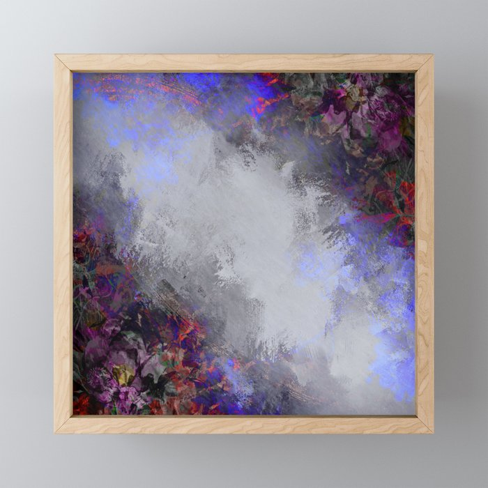 Silver and Burgundy Painted Floral Frame Framed Mini Art Print