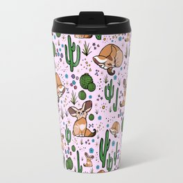 Fennec Foxes in Pink Travel Mug