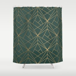Olive Gold Geometric Pattern With White Shimmer Shower Curtain