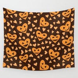 Halloween Pumpkin face in heart shapes pattern  Wall Tapestry