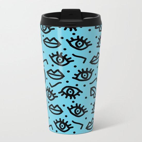 Wowzers - memphis throwback retro neon face eyes fashion print design dorm college trendy gifts Metal Travel Mug