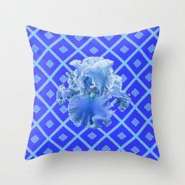 Baby Blue German Iris Blue Pattern Throw Pillow