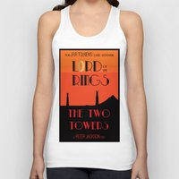 lotr Tank Tops featuring LOTR The Two Towers Minimalist Poster by Sean Breeding Arthouse