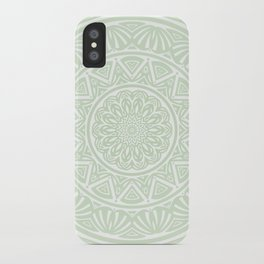 Olive Green Simple Simplistic Mandala Design Ethnic Tribal Pattern iPhone Case