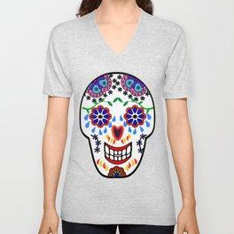 Sugar Skulls in Blue Unisex V-Neck