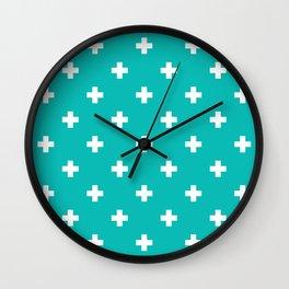 Swiss cross pattern on tiffany blue Wall Clock