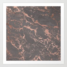 Modern Grey cement concrete on rose gold marble Art Print