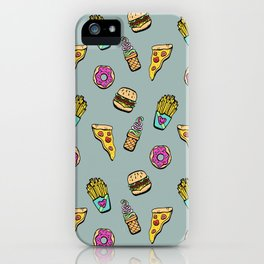 Fast Food Heaven Illustrated Pattern iPhone Case