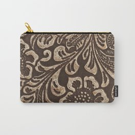 Gold & Brown Flowered Tooled Leather Carry-All Pouch