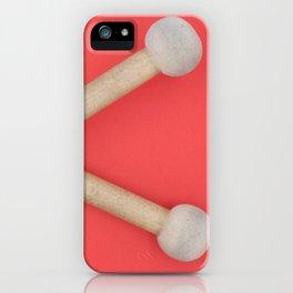 drum sticks red background iPhone Case