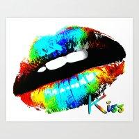 kiss Art Prints featuring kiss by Vector Art