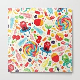 Candy Pattern - White Metal Print