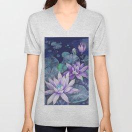 blue lake lilypads Unisex V-Neck