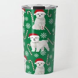 Maltese christmas festive dog breed holiday candy canes snowflakes pattern pet friendly dog art Travel Mug