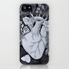 Botanical Heart Black & White iPhone Case