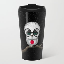 Baby Owl with Glasses and Japanese Flag Travel Mug