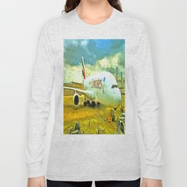 Emirates A380 Airbus Pop Art Long Sleeve T-shirt