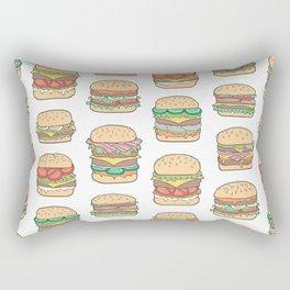 Hamburgers Junk Food Fast food on White Rectangular Pillow