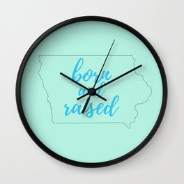 Iowa - Born and Raised - Mint and Blue Wall Clock