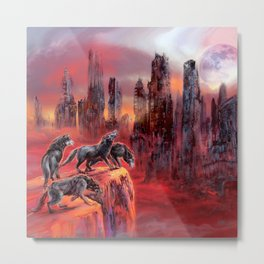 Wolves of Future Past landscape Metal Print