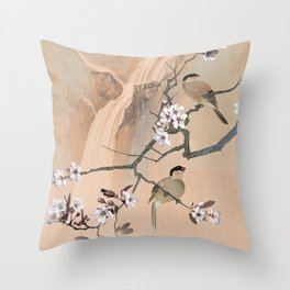 Cherry Tree And Two Birds Throw Pillow