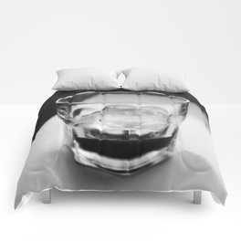 Timeless | Modern abstract black white coffee ice photography Comforters