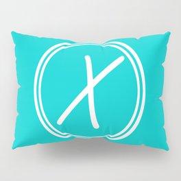 Monogram - Letter X on Cyan Background Pillow Sham