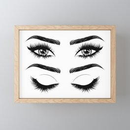 Eyes with long eyelashes and brows Framed Mini Art Print